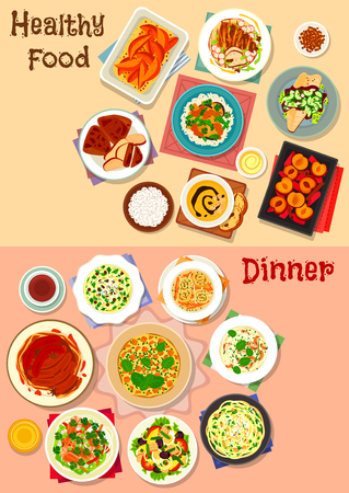 Healthy dinner dishes icon set of pasta with meat, vegetable, cheese and nuts, potato and chicken soups, tuna salad with veggies and egg, chicken tortilla, fried fish, pumpkin omelette, fruit dessert Illustration