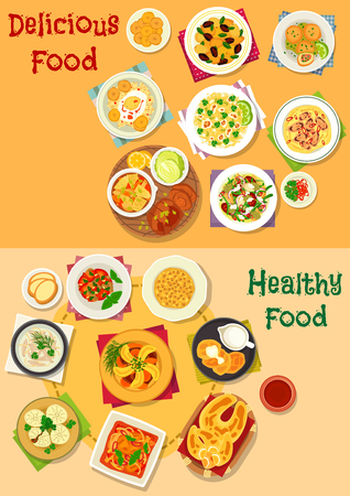 Appetizing lunch icon set with meat and vegetable stews, veggies, seafood, sausage, bean and cheese salads, beef dumpling, egg pie, chicken soup, chilly rice, potato ball, corn pancake, nut dessert Illustration