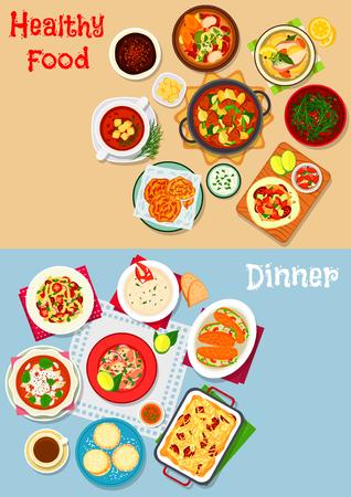 Lunch met dessert pictogram van pasta met tomaat, worst en kaas, groenten- en vissoepen, zeevruchten en linzensalades, worstomelet, rundvleesstoofpot, chocolademousse, kreeftensandwich, koekje, pannenkoek Stock Illustratie