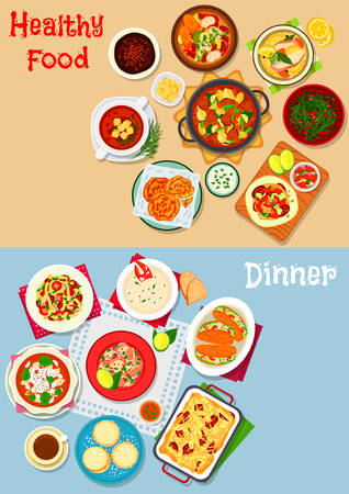 Lunch with dessert icon of pasta with tomato, sausage and cheese, vegetable and fish soups, seafood and lentil salads, sausage omelette, beef stew, chocolate mousse, lobster sandwich, cookie, pancake