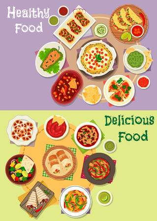 Mexican cuisine icon set with vegetable and meat taco, tortilla, burrito and fajita with salsa, guacamole sauce, tomato bean soup and salad, chilly chicken, stuffed pepper, cheese pancake, sweet bread Illustration