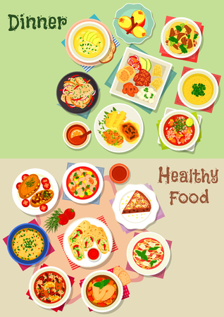 Dinner icon set of vegetable soups with meat, shrimp and bean, chicken rice, vegetable meat stew, baked fish, potato and pork, chicken cheese roll, pepper sauce, carpaccio, bread pie, fruit dessert