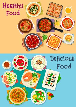 Gesunde Lebensmittel-Icon-Set von Gemüse-Salat mit Käse, Ei und Schinken, Huhn und Gemüse Kuchen, Sushi-Rolle, Lachssteak, Fleisch-Eintopf und Paella, Pilzcremesuppe, Käsekuchen, Kürbis Omelett Standard-Bild - 88448877