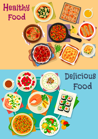 Healthy food icon set of vegetable salad with cheese, egg and ham, chicken and vegetable pies, sushi roll, salmon steak, meat stew and paella, mushroom cream soup, cheesecake, pumpkin omelette Ilustrace