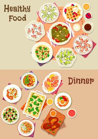 Lekkere dinergerechten icon set kaasham en vissalades, ei-gerechten met kaas en worst, pasta met champignons en kaas, gegrilde garnalen en lam, dolma, oester met saus, wafel met ijs