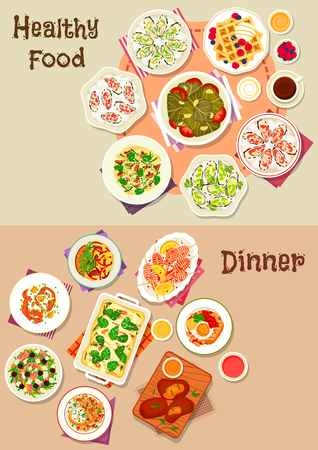 Tasty dinner dishes icon set of cheese ham and fish salads, egg dishes with cheese and sausage, pasta with mushroom and cheese, grilled shrimp and lamb, dolma, oyster with sauce, waffle with ice cream Illustration