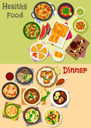 점심과 저녁 식사 아이콘으로 구운 닭고기, 쇠고기 롤과 돼지 고기, 고기, 야채와 생선이 들어간 쌀과 국수, 새우 샐러드, 초콜릿 케이크, 베이컨과 두