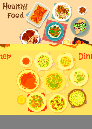 Healthy dinner dishes icon set of pasta with meat, vegetable, cheese and nuts, potato and chicken soups and more. Illustration