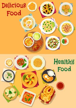 肉と野菜のシチュー、野菜、魚介類、ソーセージ、豆とチーズのサラダと食欲をそそるランチ アイコンを設定します。  イラスト・ベクター素材