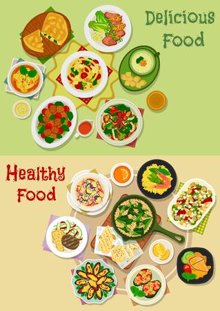 Belangrijkste icon maaltijd set van plantaardige salades met zeevruchten en kaas, gebakken vlees en mossel met groenten, pasta met spek, zeevruchten guacamole, soep en rijst met garnalen en bonen, gehaktbal, kaas ei pie