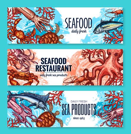 레스토랑이나 해산물 시장을위한 해산물 제품 배너. 벡터 스케치 신선한 어부의 낙지, 송어 또는 넙치 및 새우 새우, 오징어 또는 거북이 및 바다 가재  일러스트