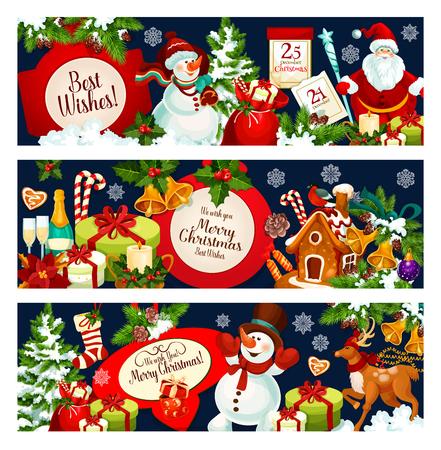 메리 크리스마스 인사말 및 겨울 휴가 디자인을위한 최고의 소원 배너. 벡터 산타와 눈사람 선물 가방, 새 해 달력 및 크리스마스 트리 조명 장식, 샴페