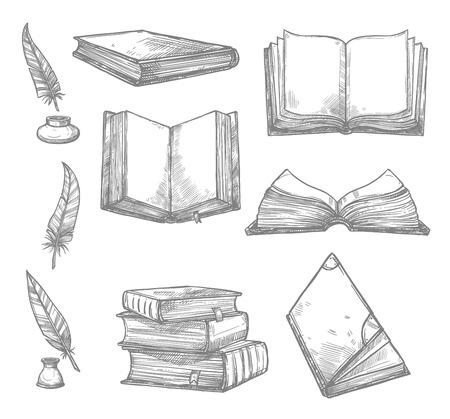 古い書物や古代の原稿とインク クイルか羽ペン アイコンをスケッチします。古いヴィンテージの本、アンティーク紙ロールや文房具や文学のデザイ  イラスト・ベクター素材