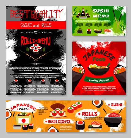 스시 레스토랑 일본 음식 메뉴 물고기 생선 초밥 롤, 쌀 및 연어 사시 미, 장 어 또는 참치 마 키와라면 국 또는 일본어 차 및 젓가락의 서식 파일. 벡터