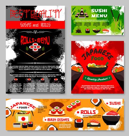 Sushi restaurant Japanese food menu template of fish sushi roll, rice and salmon sashimi, eel or tuna maki and ramen noodle soup or Japanese tea and chopsticks. Vector Asian cuisine restaurant design Illustration