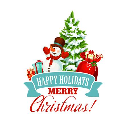 Vrolijk kerstfeest pictogram voor gelukkig vakantie wenskaart ontwerpsjabloon. Vector sneeuwman met Nieuwjaar Santa geschenken tas en kerstboom en lint decoratie op sneeuwvlokken voor de winter Xmas vakantieseizoen