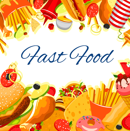 Fast food snack and meals poster for fastfood restaurant or bistro. Vector burger, hotdog sandwich or pizza and and fries combo, ice cream or donut dessert and soda or coffee drink and chicken nuggets