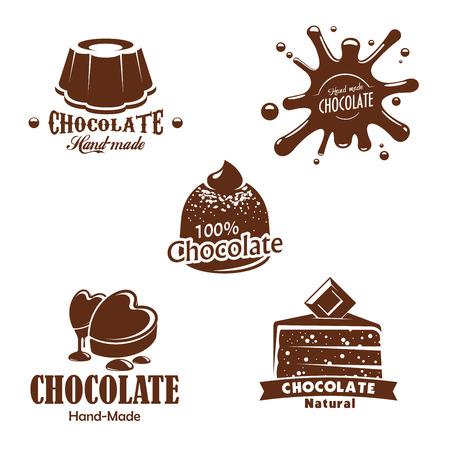 チョコレートのデザート、お菓子や水しぶき。パティスリー、製菓のチョコ ケーキ、パイ、チョコレートをハート形、ブラウニーやティラミス tortes  イラスト・ベクター素材