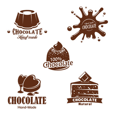 Chocolate desserts, candy and splashes. Patisserie or confectionery choco cakes and pies, chocolate drops of heart shape, brownie or tiramisu tortes, muffins and cupcakes. Vector isolated icons set Illustration