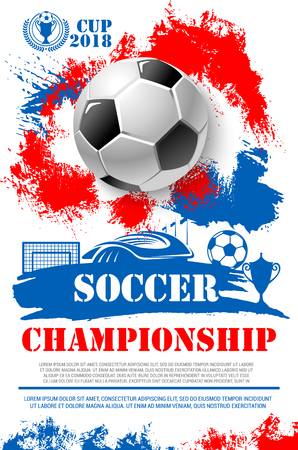 Soccer championship 2018 cup poster of football ball, goal gates at arena stadium and winner golden goblet award. Vector design of champion victory wreath in red, white and blue Russian flag colors