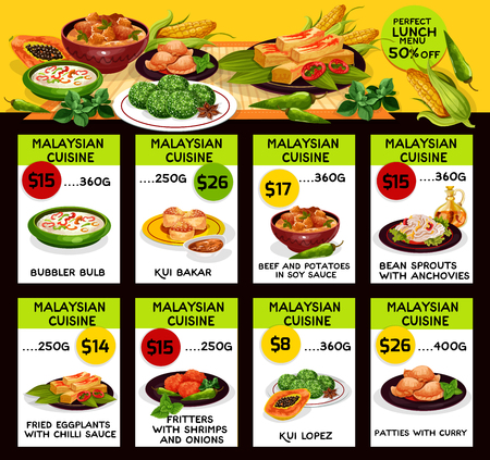 Malaysian cuisine restaurant menu template. Vector lunch offer dishes of bubbler bulb, kui bakar beef and potato in soy sauce, bean srout with anchovy, fried eggplant in chili and shrimp fritter