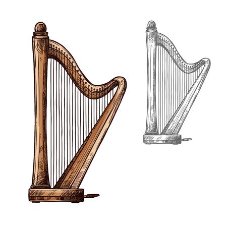 ハープ音楽弦楽器。古典的なオーケストラや音楽コンサートや民俗祭デザインの古代ギリシャ語オペラ アコースティック弦ハープのベクトル スケッ  イラスト・ベクター素材