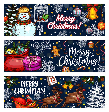 Merry Christmas wish on sketch banners of Santa gifts, Christmas tree decorations and snowman. Vector reindeer sleigh, 25 December calendar and golden star or bell for New Year winter holidays season