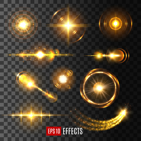 Light flashes, sun beams and star lights isolated icons on transparent background. Vector set of shining beam with lens flare effect or glittering sunlight ray or solar space burst and twinkling light