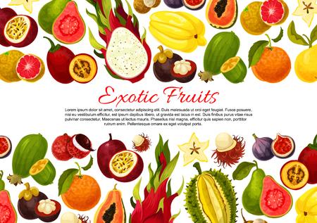 熱帯果実収穫のエキゾチックなフルーツのポスターまたは横断幕のテンプレートです。熱帯のパパイヤ、パッション フルーツ maracuya やイチジク、ド