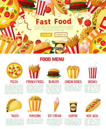 Fast food menu poster or landing web page template of cheeseburger burger, hot dog sandwich or hamburger for fastfood restaurant menu. Vector combo of tacos, pizza or burrito and fries