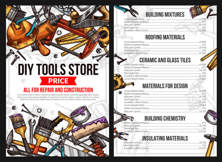 DIY work tools store price list for house repair or handyman construction service. Vector sketch building mixture, roofing material ceramic and glass tile for interior design, chemistry and insulating Ilustração