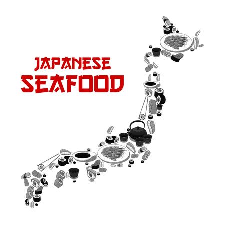 일본 해산물 레스토랑 또는 일본 맵 모양의 스시 바 포스터. 생선 초밥 롤, 쌀 및 연어 사시미, 장어 마 키 및라면 누들 스프 또는 일본 차 및 젓가락의  일러스트