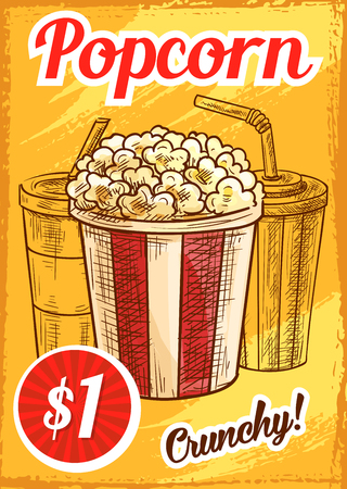Popcorn price menu sketch poster for cinema bar or bistro. Vector design of crunchy caramel popcorn basket with coffee or fresh soda drink cup and drinking straw for movie bar dessert