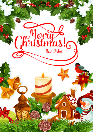 Merry Christmas greeting card for winter Xmas holiday. Vector New Year candle lights and Chritmas tree wreath garland with snowflakes and gingerbread cookie and golden Santa bells decoration