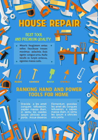 House repair poster of handyman work tools. Vector flat design of renovation or carpentry drill, saw or hammer and wrench, woodwork grinder or ruler and plastering trowel or interior decor paint brush