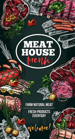 고기 집 조제 식품에 대한 벡터 스케치 포스터