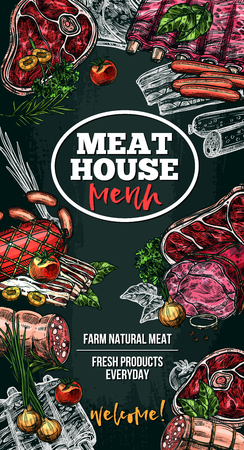 Vector sketch poster for meat house delicatessen