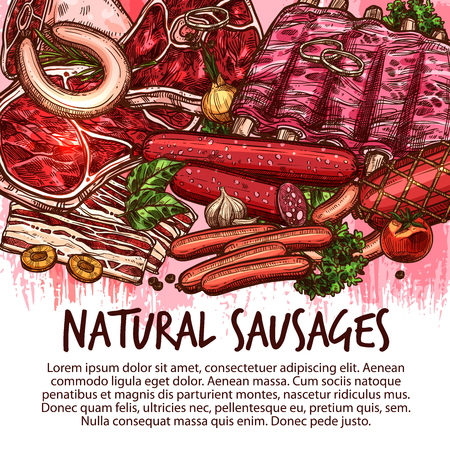 Meat delicatessen, sausages and fresh meaty product poster. Vector sketch cervelat, pepperoni or liver sausage, farm pork filet or beef steak and butchery brisket, ham bacon and mutton rib tenderloin