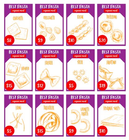 イタリア パスタ価格カード スケッチ デザイン。Quadretti、oregghiette またはエリケとトルテッローニ、デュラム raviolo またはファルファレとステレ入  イラスト・ベクター素材