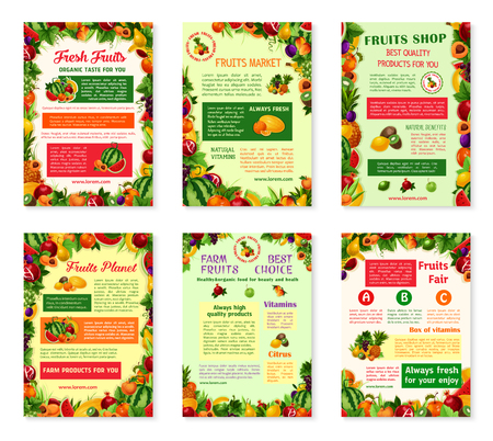 농장 과일 가게 또는 농부 시장을위한 과일 포스터 세트. 벡터 정원 사과, 복숭아 또는 배와 살구, 유기농 포도 또는 키위와 가닛, 신선한 열대 이국적 일러스트