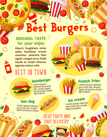 Fast food poster of best burgers, pizza and sandwiches for fastfood restaurant or delivery. Vector combo meals of cheeseburger, hamburger or hot dog and popcorn, ice cream and donut cake dessert Illustration