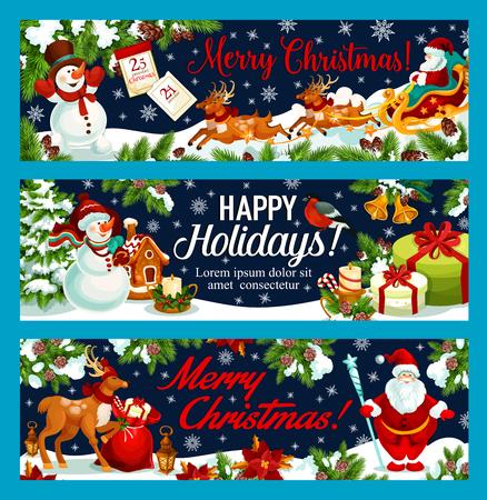 新年のメリー クリスマスとハッピー ホリデー グリーティング バナー冬の休暇を望みます。ベクトル サンタのギフトバッグと雪だるまやクリスマス