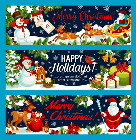 Merry Christmas and Happy Holidays greeting banners for New Year winter holiday wish. Vector Santa gift bag and snowman or reindeer at Christmas tree, Xmas holly wreath decoration and snowflakes Illustration
