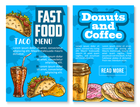 Fast food menu posters of mexican tacos, soda drink or sweet donut dessert and coffee. Vector sketch chicken leg barbecue, cake and sandwich for fastfood meals and snacks restaurant or bistro bar