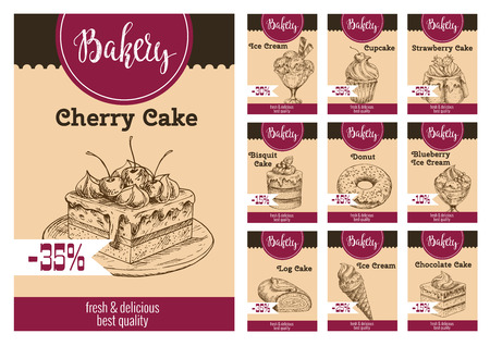 Desserts and cakes price card with discount for bakery shop or cafeteria and cafe. Vector sketch ice cream, berry and fruit cupcake, chocolate biscuit or pies and pastry tiramisu or brownie cookie Illustration