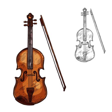 나비 스케치 아이콘으로 바이올린이나 contrabass 악기. 벡터 격리 된 문자열 음악 첼로 또는 바이올린, violoncello 또는 비올라 클래식 음악 콘서트 또는 오케스트라 재즈 축제 레이블 디자인 스톡 콘텐츠 - 88337963