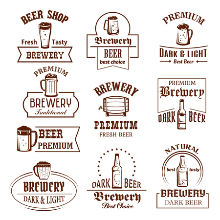 Beer shop, brewery bar or pub icons of glass, bottle or barrel and pint mug. Vector isolated labels set for light or dark beer brew ale pint, premium quality craft or draught beer for Oktoberfest