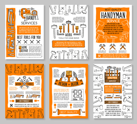Home repair posters template of handyman work tools for house finishing and painting service. Vector sketch carpentry hammer, drill and screwdriver, paint brush and mallet, plastering trowel and ruler