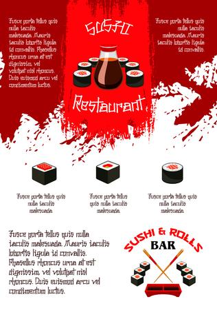 Sushibar of Japanse het menumalplaatje van de voedselbar of sushibar. Vector ontwerp van sashimi en sushi broodjes en zalm vis, bento tempura garnalen met gestoomde rijst en sojasaus of noedels soep en eetstokjes Stock Illustratie
