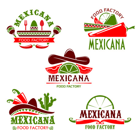 Mexican food cuisine or restaurant icon for cafe menu. Vector isolated set of Mexico sombrero hat, spicy chili jalapeno pepper, Mexicana tequila agave cactus drink with lime and nachos or burrito Illustration